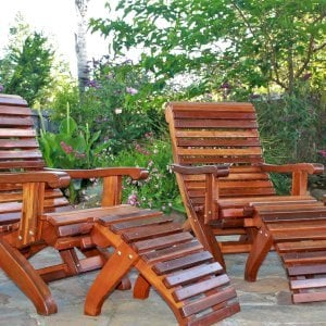 Ensenada Easychairs (Options: Standard Size, California Redwood, No Cushion, With Ottoman, Transparent Premium Sealant). Photo Courtesy of Dan Leetz of Petaluma, California.