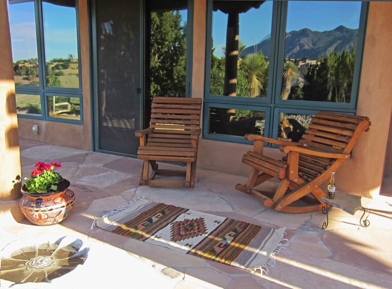Ensenada Rocking Chairs (Options: Standard Width, Old-Growth Redwood, No Cushion,Transparent Premium Sealant). Photo Courtesy of Alwyn VanderWalt.