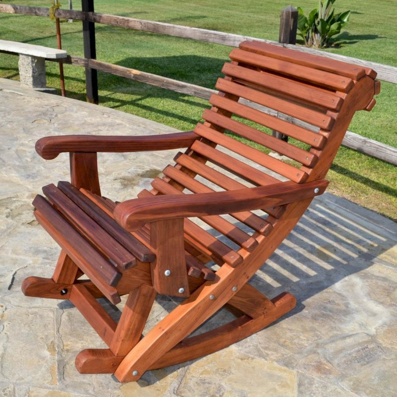 Ensenada Rocking Chair (Options: Standard Width, Old-Growth Redwood, No Cushion,Transparent Premium Sealant).