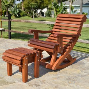 Ensenada Rocking Chair (Options: Standard Width, Old-Growth Redwood, No Cushion,Transparent Premium Sealant) and Flat Adirondack Ottoman (Options: Old-Growth Redwood, Transparent Premium Sealant).