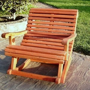 Ensenada Highback Rocking Chair (Options: Extra Wide, Mature Redwood, No Cushion, Transparent Premium Sealant).