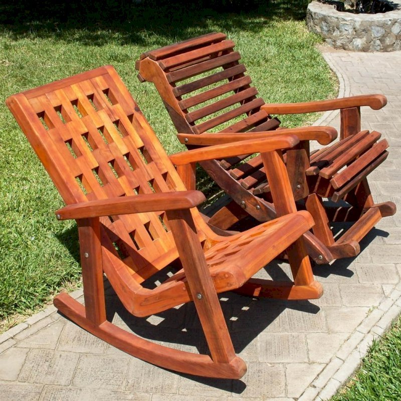 Comparison of Lighthouse and Ensenada Highback Rocking Chairs - Lighthouse in Young, Ensenada in Old-Growth Redwood