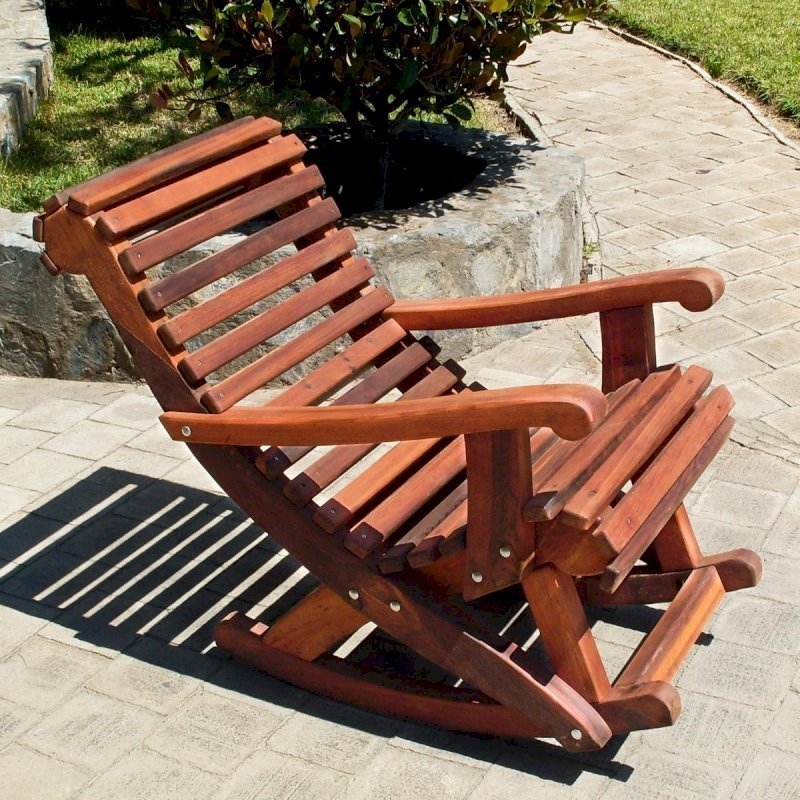 Ensenada Highback Rocking Chair (Options: Standard Width, Old-Growth Redwood, No Cushion, Transparent Premium Sealant).