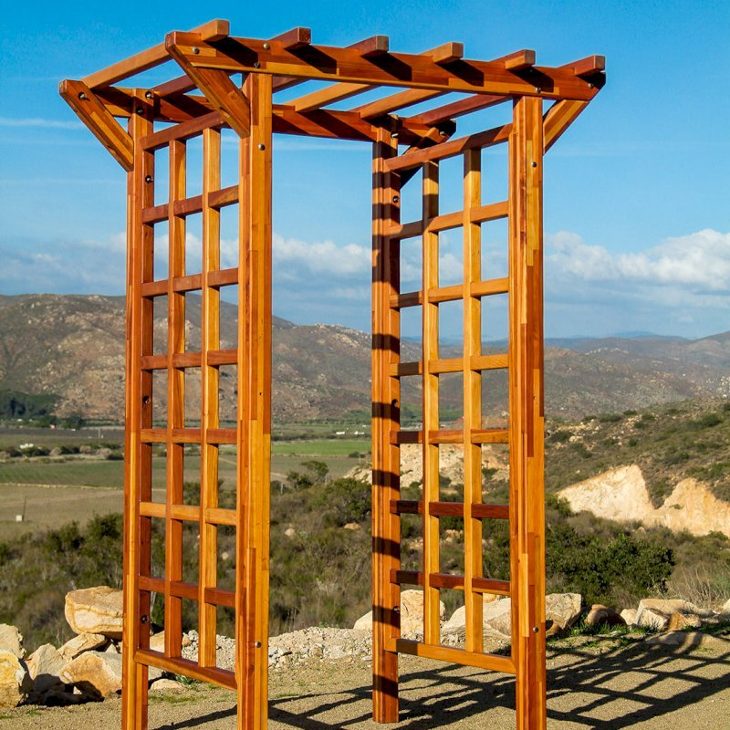 "Entryway Arbor (Options: 57 1/2"" W, 32"" D, Mosaic Eco-Wood, 4-Post Archor Kit for Stone, Brick or Concrete, Transparent Premium Sealant)."