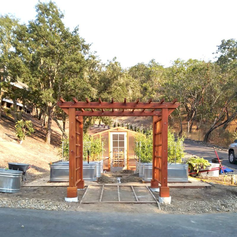 """Custom Entryway Arbor (Options: 120"""" W, 84"""" D, California Redwood, 4-Post Archor Kit for Concrete, Transparent Premium Sealant) with 6 x 6 Posts and 2 x 6 Rafters by Custom Request. Photo Courtesy of K. Moore of Healdsburg, CA."""