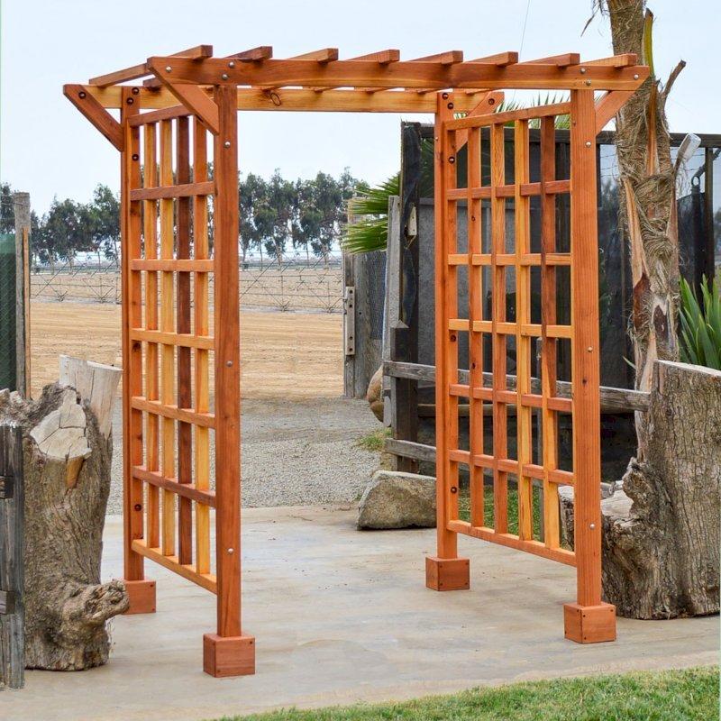 "Entryway Arbor (Options: 80"" W, 60"" D, California Redwood, 4-Post Archor Kit for Stone, Brick or Concrete, Transparent Premium Sealant)."