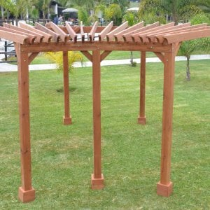 Fan Shaped Corner Pergola (Options: 22' x 15', Mature Redwood, Without roof slats, No Electrical Wiring Trim Kit, 6-Post Anchoring for stone, brick or concrete, No Ceiling Fan Base, 9' Posts, No Curtain Rods, Transparent Premium Sealant).
