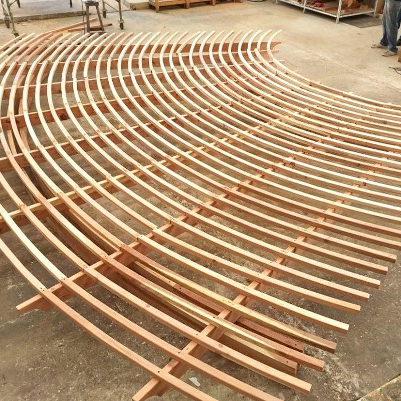 Fan Shaped Pergola Kit in rough carpentry.