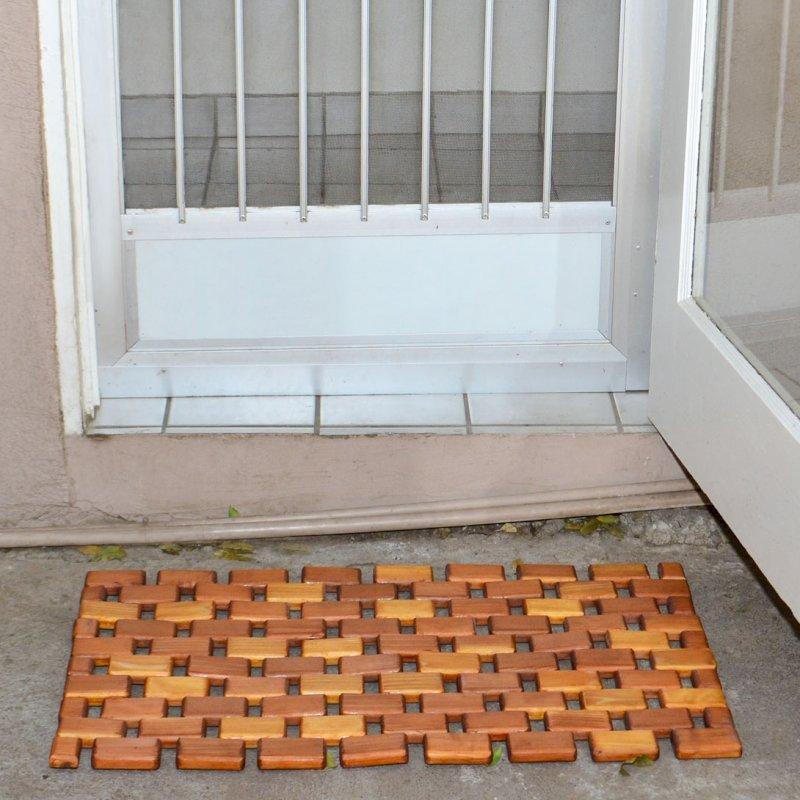 Flexible Wood Floor Mat (Options: 2.5' L, 1.5' W, California Redwood, Transparent Premium Sealant).