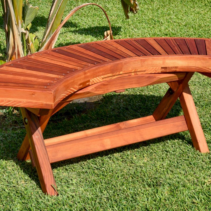 Folding Arc Bench (Options: 52 inches, California Redwood [with a little Mosaic Eco-Wood at the bottom of the seat by custom request], Transparent Premium Sealant).