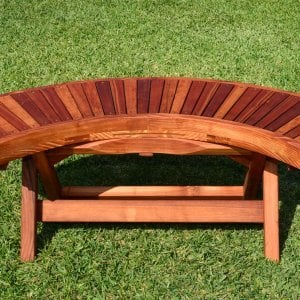 Folding Arc Bench (Options: 52 inches, Redowod [with a little Mosaic Eco-Wood at the bottom of the seat by custom request], Transparent Premium Sealant).