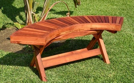 Folding Arc Wood Bench