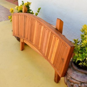 Folding Arc Bench (Options: 52 inches, Redwood, Transparent Premium Sealant).