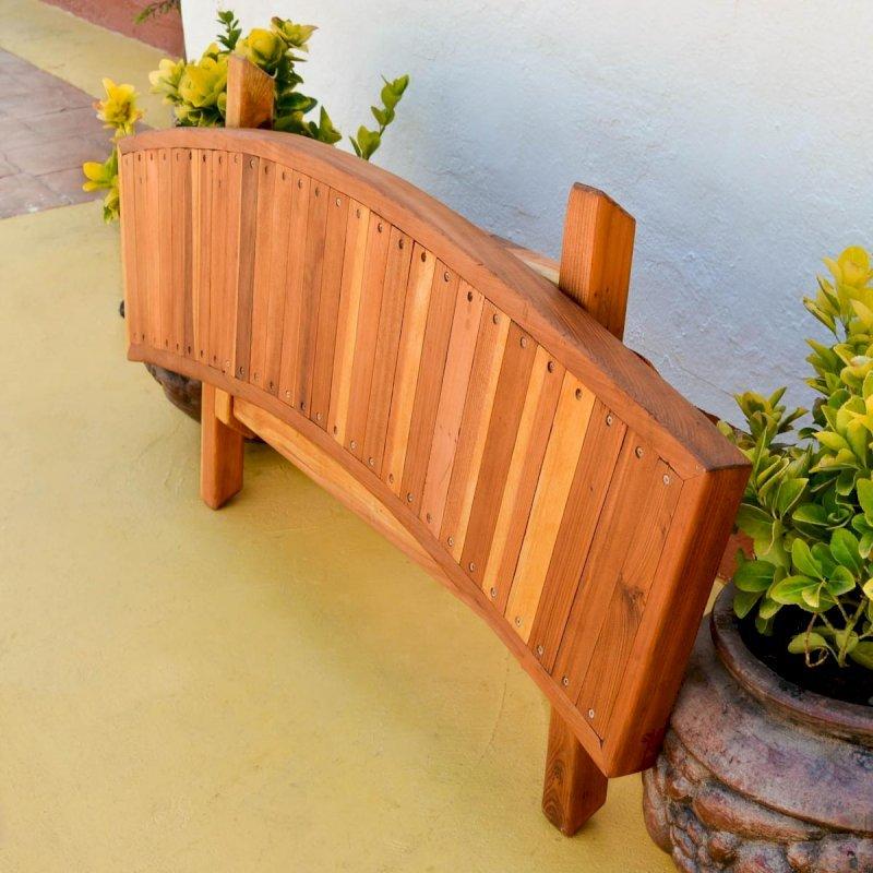 Folding Arc Bench (Options: 52 inches, California Redwood, Transparent Premium Sealant).