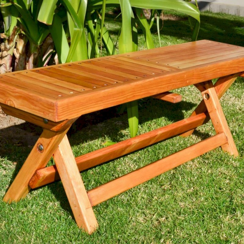 Folding Bench (Options: 4 ft, Douglas-fir, Checkerboard Design, Slightly Rounded Corners, Transparent Premium Sealant).