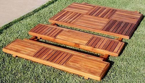 EZ Storage & Transport - Folds Up to Less Than 5 inches. Folding Bench (Options: 4 1/2 ft, California Redwood, Checkerboard Design, Squared Corners, Transparent Premium Sealant).