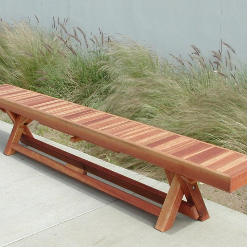 Folding Bench (Options: 8 ft, California Redwood, Boards All in Same Direction, Squared Corners, Unfinished).