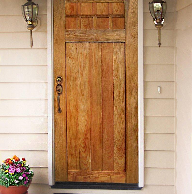"""Forever Door (Options: Standard Door size of 6' 8"""" H, 32"""" W, Douglas-fir, Transparent Premium Sealant)."""