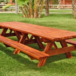 "Forever Picnic Table (Options: 12' L, 40 1/4"" W, Side Benches, Mosaic Eco-Wood, Standard Tabletop, Slightly Rounded Corners, No Umbrella Hole, Transparent Premium Sealant, No ADA Accessible)."