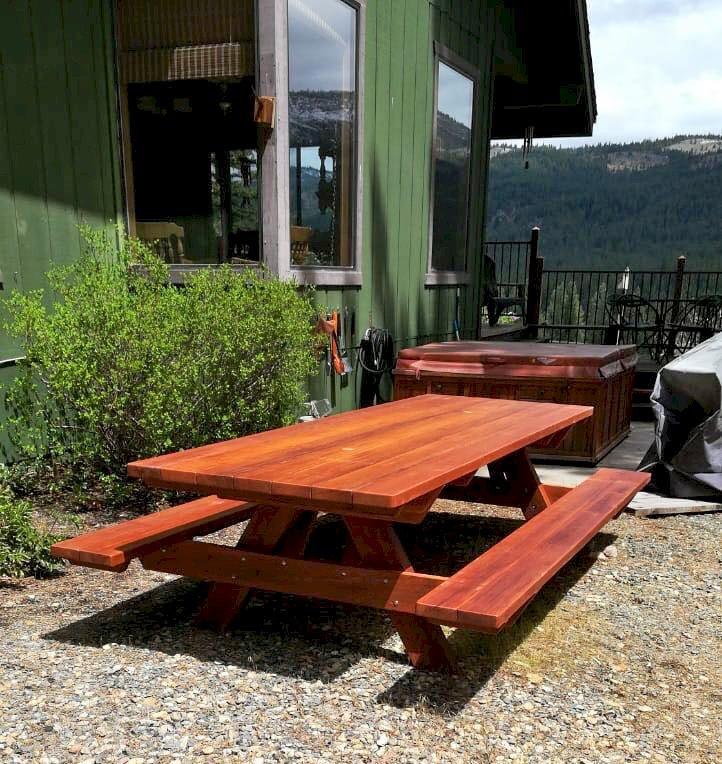 "Custom Picnic Table (Options: 41 1/2"" x 6', Mature Redwood, Standard Tabletop, 2 Umbrella Holes, Transparent Premium Sealant)."
