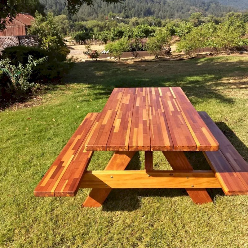 "Forever Picnic Table (Options: 6' L, 36"" W, Side Benches, Mosaic Eco-Wood, Standard Tabletop, Slightly Rounded Corners, 2"" Umbrella Hole, Transparent Premium Sealant, No ADA Accessible). Photo Courtesy of D. Eckert of Healdsburg, California."