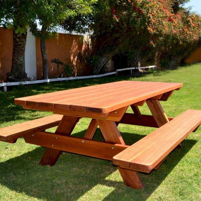 "Forever Picnic Table (Options:7' L, 34 1/2"" W, Side Benches, Mature Redwood, Standard Tabletop, Slightly Rounded Corners, No Umbrella Hole, Transparent Premium Sealant)."