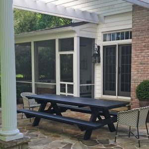 "Forever Picnic Table (Options: 10' L, 34 1/2"" W, Attached Side Benches, Redwood, Standard Tabletop, Square Corners, No Umbrella Hole, Benjamin Moore Paint-Black Satin 2131-10). Photo Courtesy of A. John of Towson, MD."