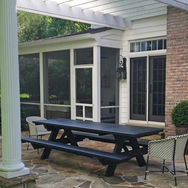 "Forever Picnic Table (Options: 10' L, 34 1/2"" W, Attached Side Benches, California Redwood, Standard Tabletop, Square Corners, No Umbrella Hole, Benjamin Moore Paint-Black Satin 2131-10). Photo Courtesy of A. John of Towson, MD."