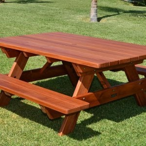 "Forever Picnic Table (Options: 6' L, 46"" W, Side Benches, Mature Redwood, Standard Tabletop, Rounded Corners, Umbrella Hole, Transparent Premium Sealant)."