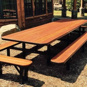 Custom Steel Framed Table with Attached Side Benches and Unattached End Benches. Photo Courtesy of Peter S. of White Lake, NY.