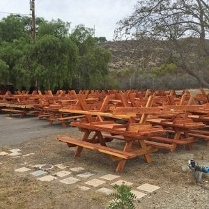 Set of thirty 8 ft tables built as part of a larger project for the El Capitan State Beach in Goleta, CA.  Yes, we offer volume discounts!