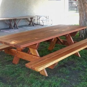"Forever Picnic Table (Options: 7' L, 34 1/2"" W, Attached Side Benches, Redwood, Standard Tabletop, Slightly Rounded Corners, No Umbrella Hole, Transparent Premium Sealant). Photo Courtesy of N. Thibeault of Encinitas, CA."