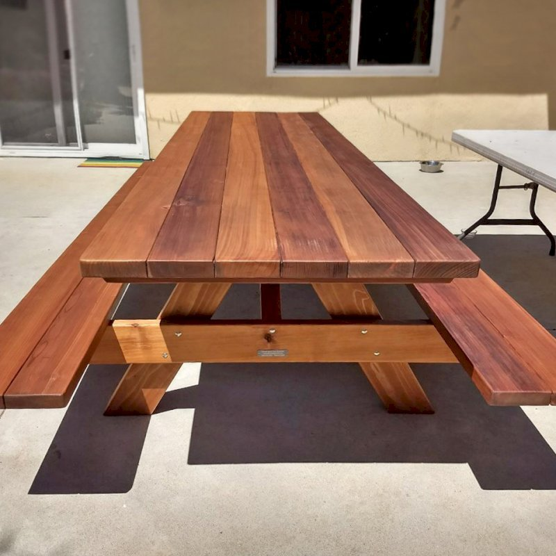 "Forever Picnic Table (Options: 10' L, 34 1/2"" W, Attached Side Benches, Mature Redwood, Standard Tabletop, Slightly Rounded Corners, No Umbrella Hole, Transparent Premium Sealant). Photo Courtesy of J. Crocker of Del Mar, CA."