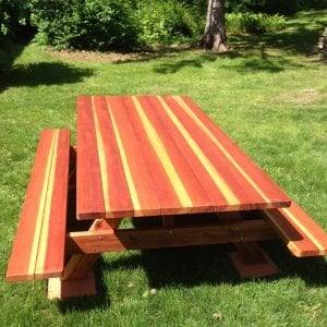 "Forever Picnic Table (Options: 8' L, 46"" W, Side Benches, Redwood, Standard Tabletop, Slightly Rounded Corners, No Umbrella Hole, Transparent Premium Sealant). Photo Courtesy of Dr. Joe De Simone of Slate Hill, NY."