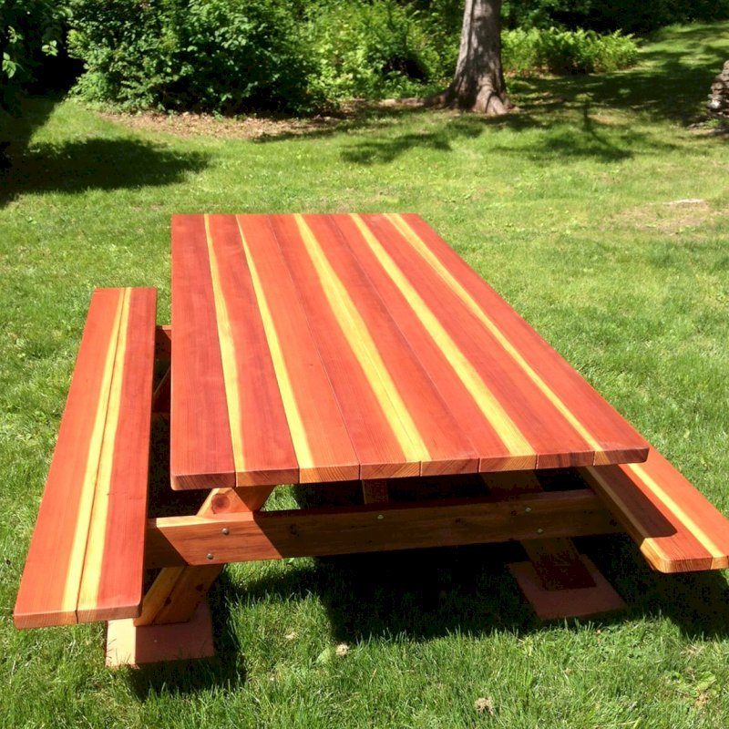 "Forever Picnic Table (Options: 8' L, 46"" W, Side Benches, California Redwood, Standard Tabletop, Slightly Rounded Corners, No Umbrella Hole, Transparent Premium Sealant). Photo Courtesy of Dr. Joe De Simone of Slate Hill, NY."
