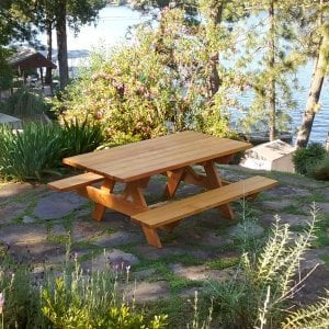 "Forever Picnic Table (Options: 6' L, 40 1/4"" W, Attached Side Benches, Douglas-fir, Standard Tabletop, Slightly Rounded Corners, 2"" Diamenter Umbrella Hole, Transparent Premium Sealant). Photo Courtesy of R. Rogers of Auburn, CA."