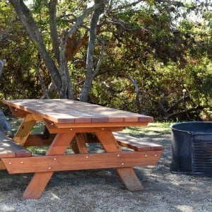 "Forever Picnic Table (Options: 8' L, 34 1/2"" W, Side Benches, Redwood, Standard Tabletop, Slightly Rounded Corners, No Umbrella Hole, Transparent Premium Sealant, ADA Accessible). Located at El Capitan State Beach near Santa Barbara, CA part of a 90 table installation completed in 2015."