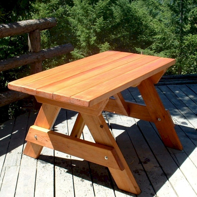 "Forever Picnic Table (Options: 4.5' L, 28 ¾"" W, No Seating, Douglas-fir, Standard Tabletop, Slightly Rounded Corners, No Umbrella Hole, Transparent Premium Sealant)."