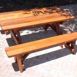 "Forever Picnic Table (Options: 6' L, 34 ½"" W, Side Benches, Mature Redwood, 1 Full Length Side Benches Per Side, Forever Style Benches, Standard Tabletop, Rounded Corners, No Umbrella Hole, Transparent Premium Sealant)."