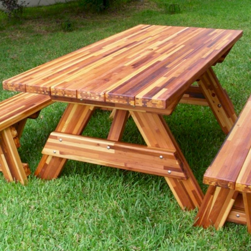 "Forever Picnic Table (Options: 6' L, 34 ½"" W, Side Benches, Mosaic Eco-Wood, 1 Full Length Side Benches Per Side, Standard Tabletop, Squared Corners, No Umbrella Hole, Transparent Premium Sealant)."