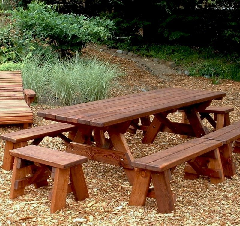 "Forever Picnic Table (Options: 8' L, 34 ½"" W, Side and End Benches, Old-Growth Redwood, 2 Half Length Side Benches Per Side, Standard Tabletop, Slightly Rounded Corners, No Umbrella Hole, Transparent Sealant)."