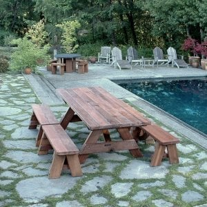"Forever Picnic Table (Options: 8' L, 34 ½"" W, Side Benches, Mature Redwood, 2 Half Length Side Benches Per Side, Standard Tabletop, Slightly Rounded Corners, No Umbrella Hole, Transparent Premium Sealant)."