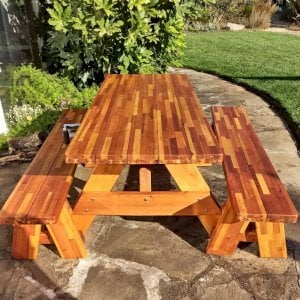 """Forever Picnic Table (Options: 6' L, 28 3/4"""" W, Side Benches, Mosaic Eco-Wood, 1 Full Length Side Benches Per Side, Standard Tabletop, Slightly Rounded Corners, No Umbrella Hole, Transparent Premium Sealant). Photo Courtesy of C. Dahlstet of Santa Rosa, California."""