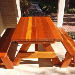 "Forever Picnic Table (Options: 5' L, 34 1/2"" W, Side Benches, Redwood, 1 Full Length Side Benches Per Side, Forever Style Benches, Standard Tabletop, Slightly Rounded Corners, No Umbrella Hole, Transparent Premium Sealant). Photo Courtesy of M. Griffinger of Walnut Creek, CA."
