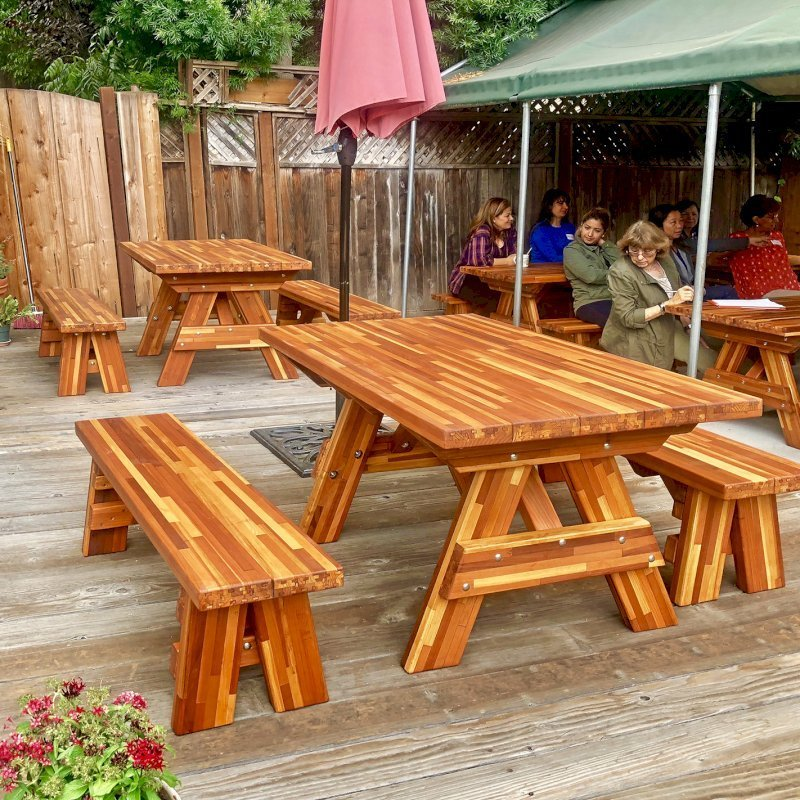 "Forever Picnic Tables (Options: Custom Size, 4' L, 29 ½"" W, 26"" H, Side Benches, Mosaic, 1 Full Length Side Benches Per Side, Forever Style Benches, Standard Tabletop [Leg Flair Recessed], Rounded Corners, No Umbrella Hole, Transparent Premium Sealant). Photo Courtesy of M. Gaston of Menlo Park, CA."