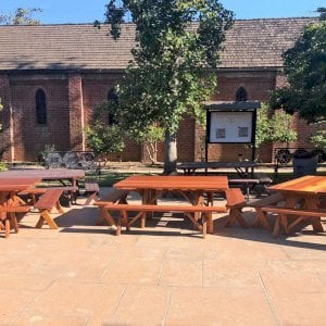 """Custom Forever Picnic Tables (Options: 6' L, 28 3/4"""" W, California Redwood, 1 Full Length Bench Per Side, Standard Tabletop, Slightly Rounded Corners, No Umbrella Hole, Transparent Premium). Tables Placed Together to Create a Square Table. Photo Courtesy of M. Sutton of San Marino, California."""