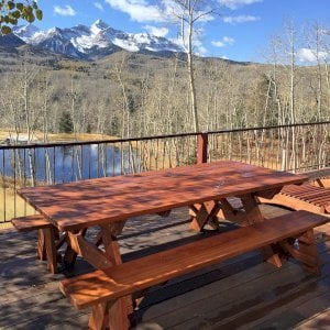 """Custom Forever Picnic Tables (Options: 8' L, 40 1/4"""" W, Old-Growth Redwood, 1 Full Length Bench Per Side, Standard Tabletop, Slightly Rounded Corners, No Umbrella Hole, Transparent Premium Sealant). Photo courtesy of P. Sigel of Telluride, Colorado."""