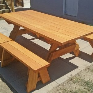 "Forever Picnic Table (Options: 8' L, 40 1/4"" W, Side Benches, Douglas-fir, 2 Half Length Side Benches Per Side, Standard Tabletop, Slightly Rounded Corners, No Umbrella Hole, Transparent Premium Sealant). Photo Courtesy of C. Fricke of Harbor City, CA."