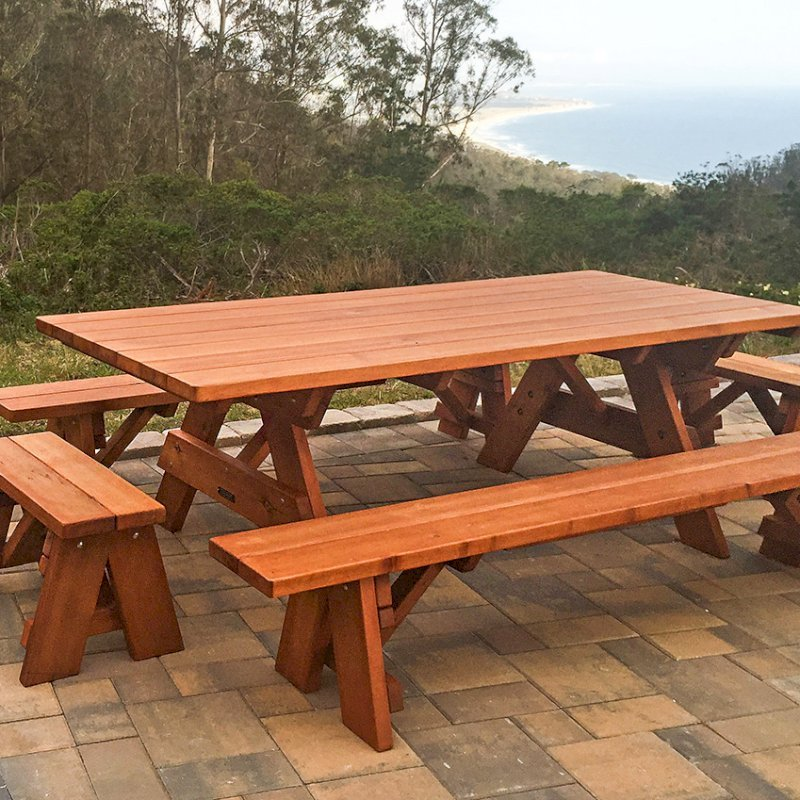 "Forever Picnic Tables (Options: 8' L, 40 1/4"" W, Side & End Benches, Old-Growth Redwood, 1 Full Length Side Bench Per Side, Standard Tabletop, Squared Corners, No Umbrella Hole, Transparent Premium Sealant). Photo Courtesy of Daniel Sorensen of Half Moon Bay, CA."