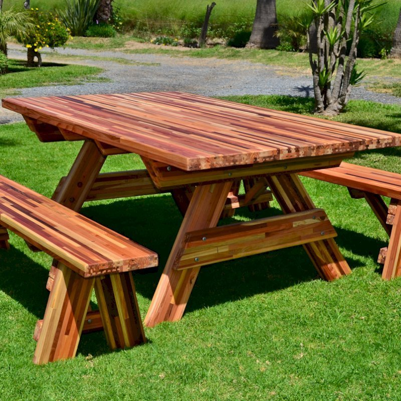 "Forever Picnic Table (Options: 6' L, 46"" W, Side Benches, Mosaic Eco-Wood, 1 Full Length Side Benchs Per Side, Seamless Tabletop, Slightly Rounded Corners, No Umbrella Hole, Transparent Premium Sealant)."